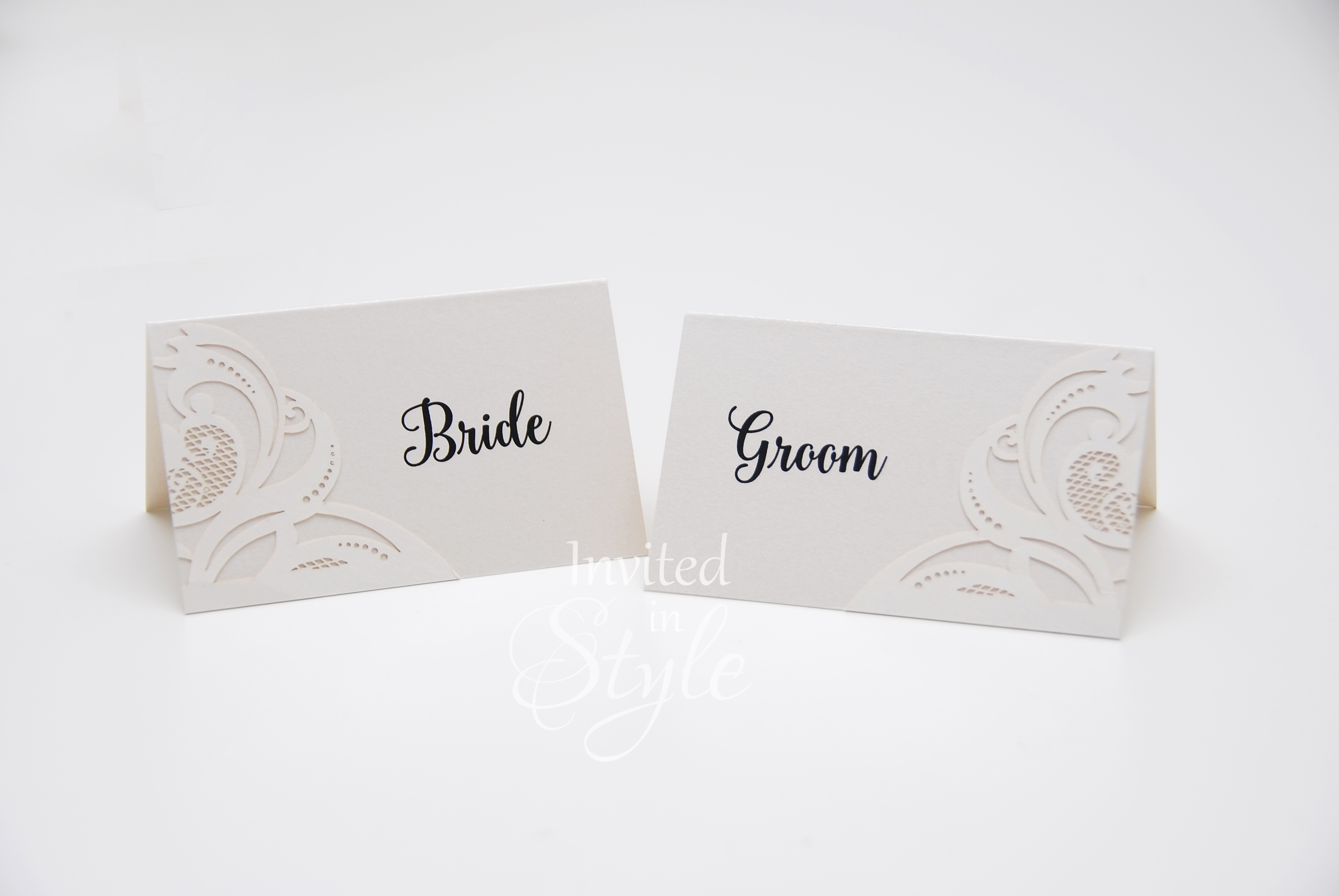Laser cut detail in ivory Place Cards
