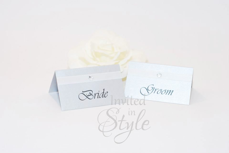 Metallic card with ribbon and diamante Place