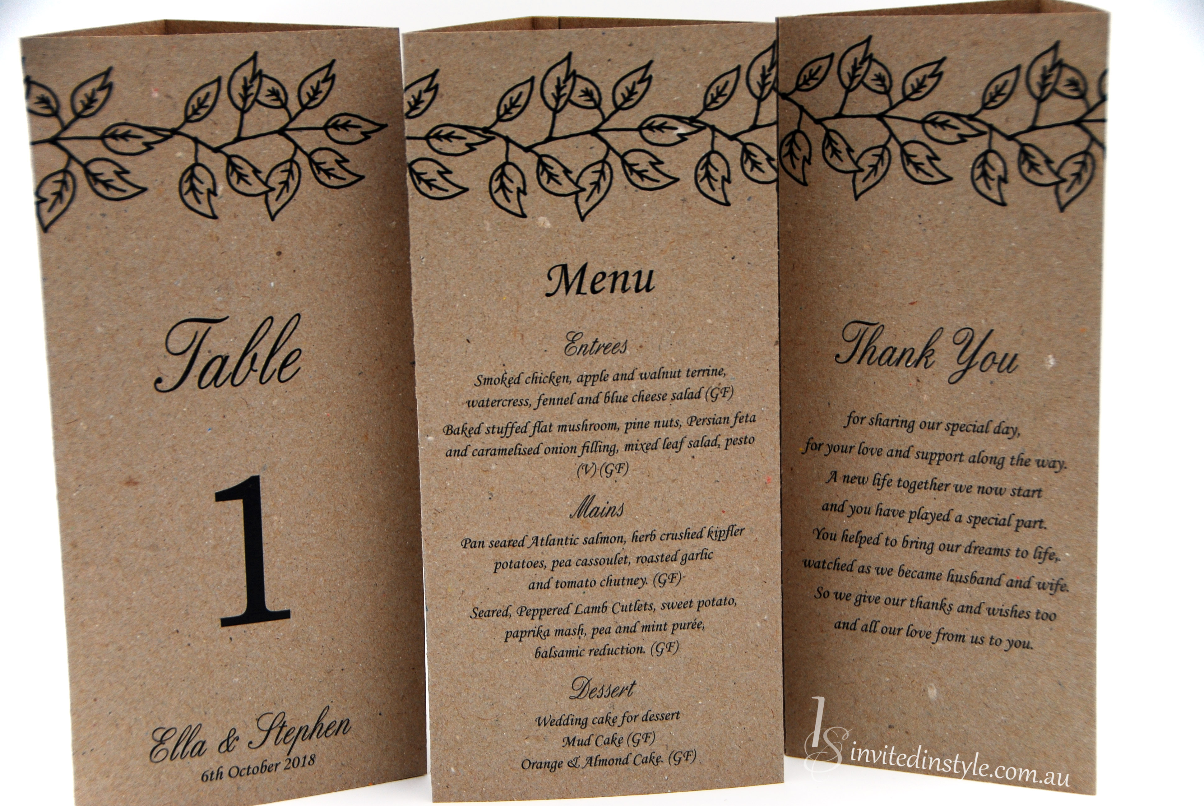 Place Cards Menus Amp Table Numbers Invited In Style