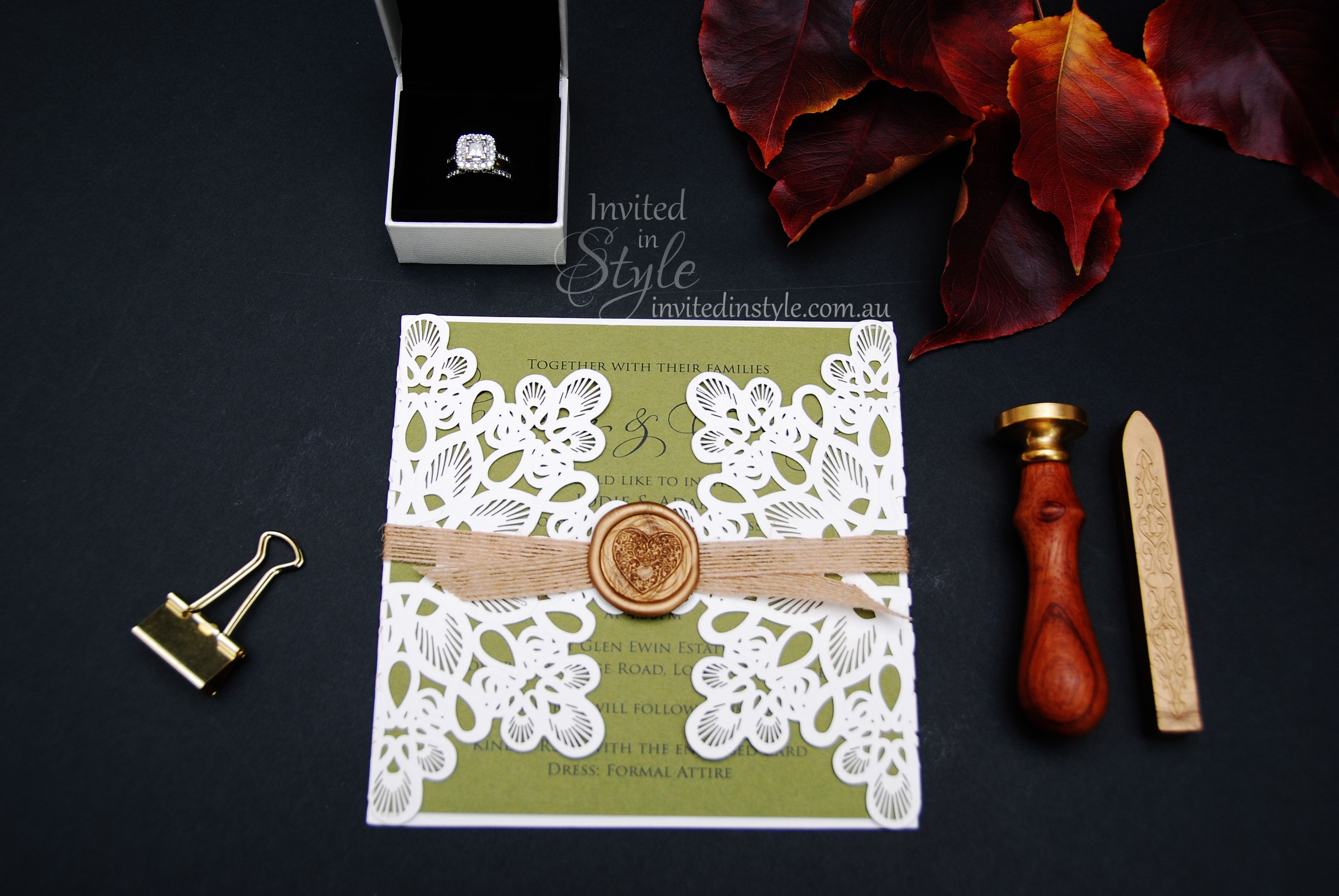 Matte Laser Cut Sleeve With Wax Seal Invited In Style